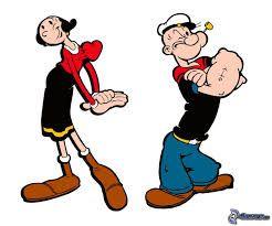 Olijfje draagt een rode trui en een zwarte rok met gele zoom. Ze draagt ook bruine laarzen. Popeye heeft een zwart t-shirt aan en een blauwe broek met een gele riem. Hij draagt ook een witte pet en heeft een pijp in zijn mond.