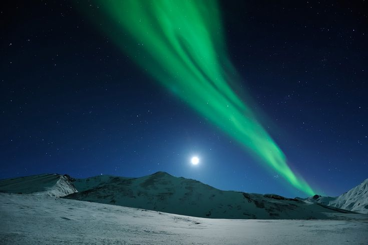 MOONRISE OVER NORTHERN LIGHTS Northern Alaska, March 2011 (by Ben Hattenbach/Los Angeles, California)