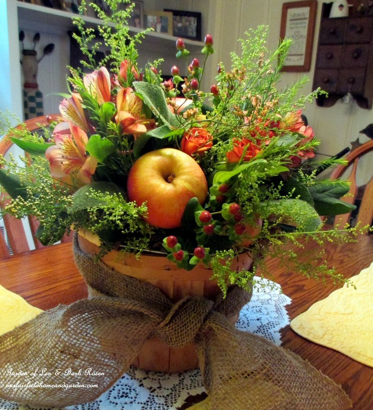 Create your own Apple Harvest Basket with freshly picked apples, garden greens and a variety of inexpensive flowers. Click on the picture for more pictures and instructions. (Garden of Len & Barb Rosen)