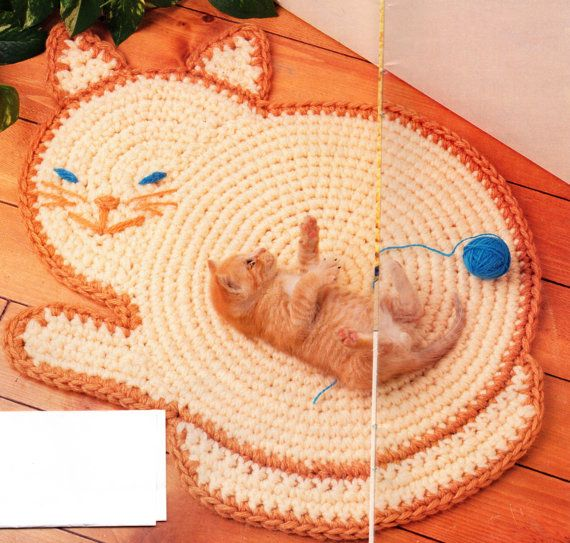 Kitty Cat Rug Crochet Pattern Feline Cat Rug Mat by PatternMuseum