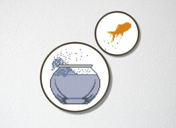 Counted Cross stitch Pattern PDF. Instant download. Fish out of Water. Includes easy beginner instructions.
