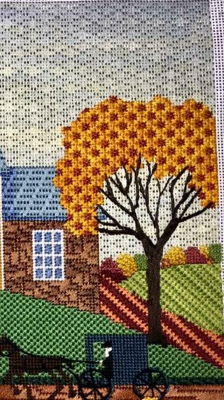 needlepoint fall landscape (detail), designer unknown