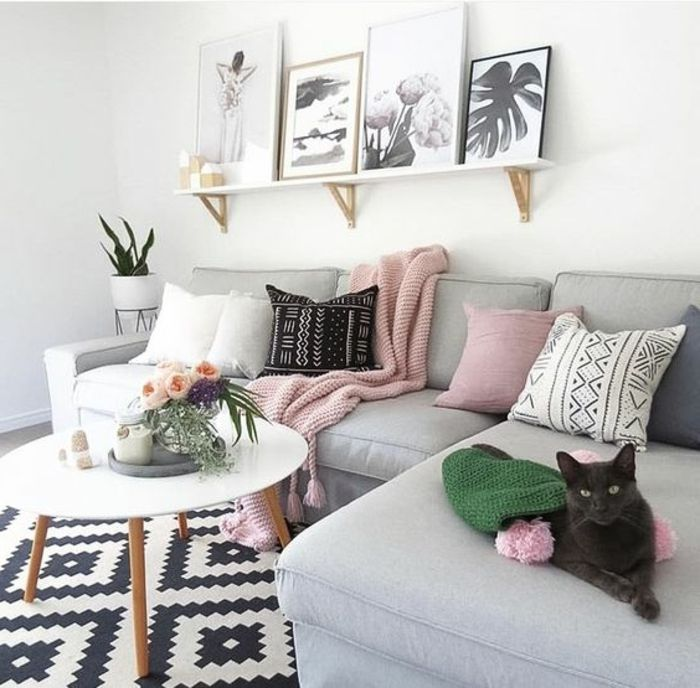 1001 Idees Deco Originales Pour Le Salon Rose Et Gris Deco