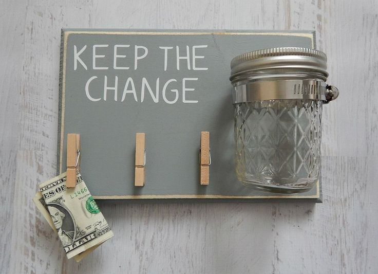 Craft a clever catchall for rescued pens, spare change, and other random items using a piece of wood, jar and clothes pins.