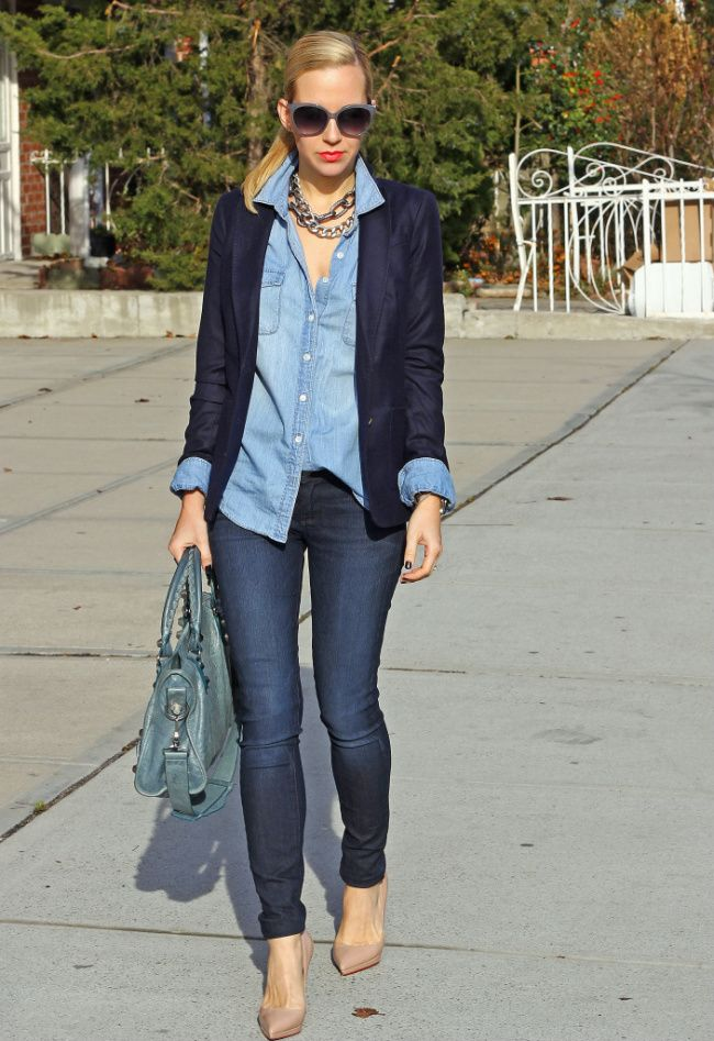 Chambray button down with navy blazer and nude pumps.. would look cute with a denim pencil skirt or a pop of colour!: