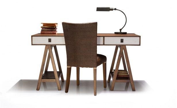 Coco Republic Felix Trestle Desk w 3 Drws - Cool Brown - 1500 x 600 x 770 - teak with white drawers - $1895 on sale $1610