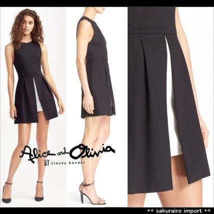 ●人気●アリスオリビア ペプラム スリット ミニ ワンピース2016 ファッション ドレス Alice+Olivia レトロ ヴィンテージ
