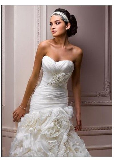 Organza Strapless Sweetheart Neckline Rouched Bodice with Intricate Embellishment Asymmetrical Waistline Slim A-Line Bustled Skirt with Chapel Train 2012 New Arrival Wedding Dress