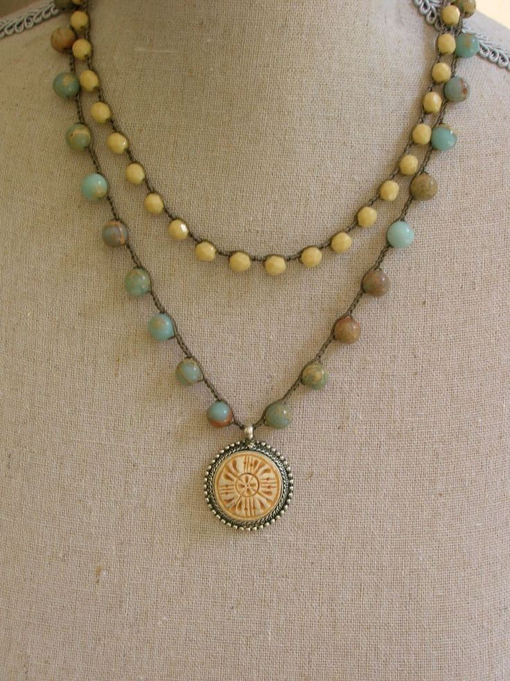 Crochet necklace, two strand pendant necklace,