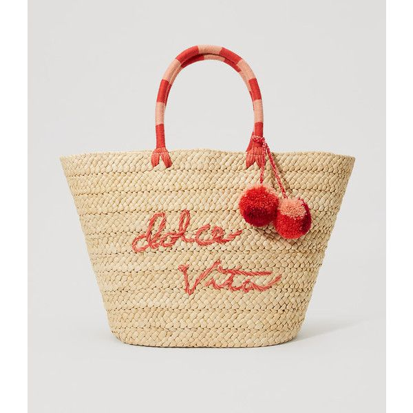 LOFT Dolce Vita Straw Tote ($80) ❤ liked on Polyvore featuring bags, handbags, tote bags, shimmer salmon, tote handbags, beige tote handbags, straw tote handbags, straw purse and beach tote