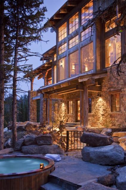 OSM | Architect: Van Bryan Studio Architects |  High Camp | Exterior | Location: Big Sky, MT | Description: Completed in 2008, this 11,000 square foot stone and timber home is adjacent to a Moonlight Basin ski run. #mountain #home