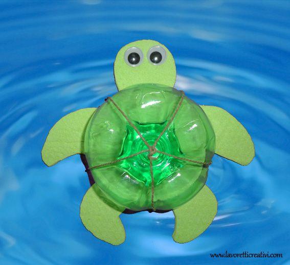 LAVORETTI PER L'ESTATE Un'idea divertente da realizzare insieme ai bambini durante in periodo delle vacanze estive. Tartaruga marina Materiale:  spag