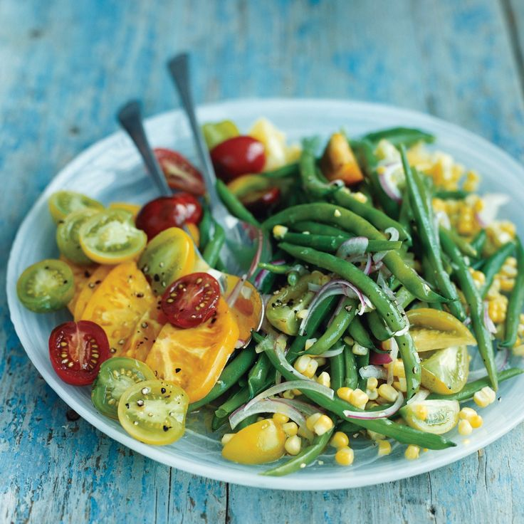 The vibrant colors of this green bean, corn, and tomato salad come ...