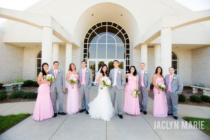 pink and grey wedding photo