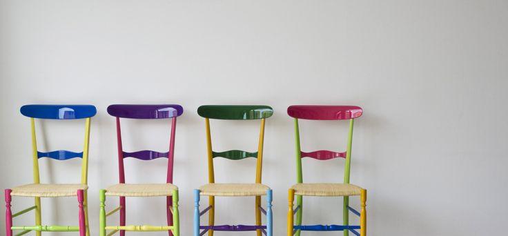 Chiavarina Supercolor made by Fratelli Levaggi. Design Davide Conti.  #chiavarine #frtellilevaggi #chiavarichairs