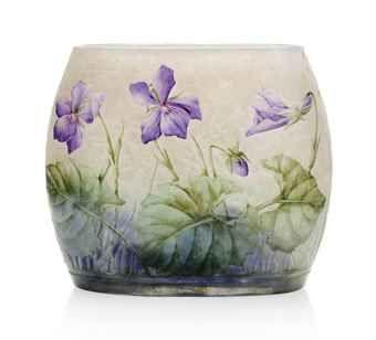 DAUM ENAMELLED GLASS VASE - CIRCA 1910