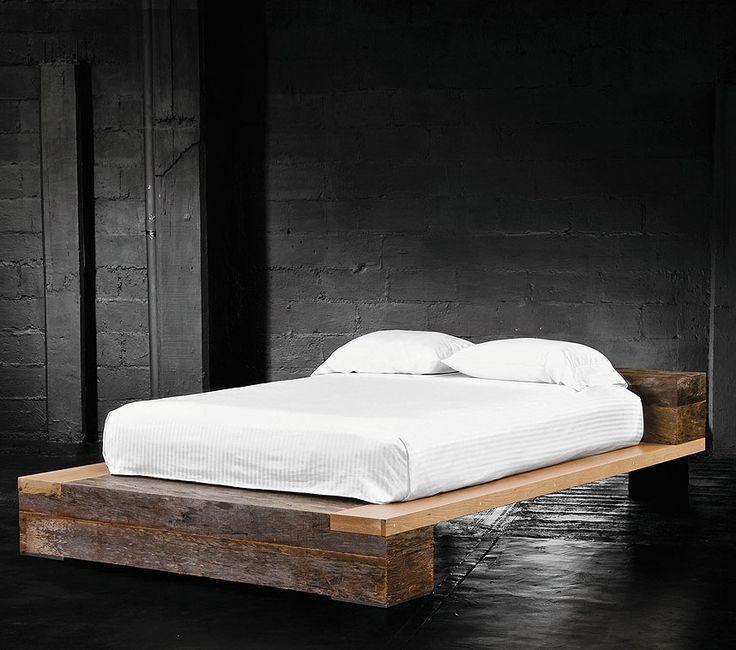 Beam Queen Platform Bed   Reclaimed Railroad Tie Beds   Bina Reclaimed Wood Hidalgo Beam Beds   Zin Home