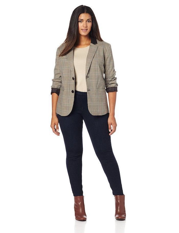 67e210fcfb grey blazer, dark jeans, business casual outfits for women, brown leather  boots, grey blouse