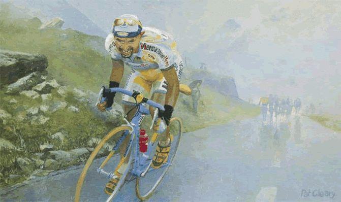 Pat Cleary (1962). < Marco Pantani. Tour de France 1998 >. Marco Pantani (1970-2004) attacca il gruppo di Jan Ullrich (1974) sul Col du Galibier nel corso dell'epica 15^Tappa da Grenoble a Les deux Alpes. Il punto più alto di una carriera tragica.