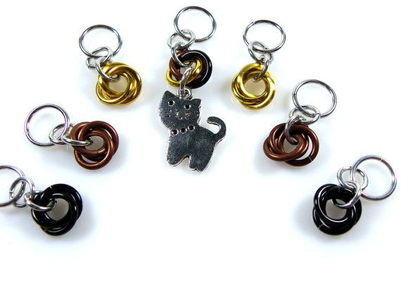Knitting Stitch Markers  Cat Stitch Markers  Cat by KnittersNook