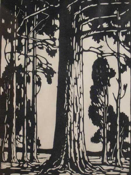 Lithographic Linocut Jacob Hendrik Pierneef (1886 - 1957)  'Trees' monochrome