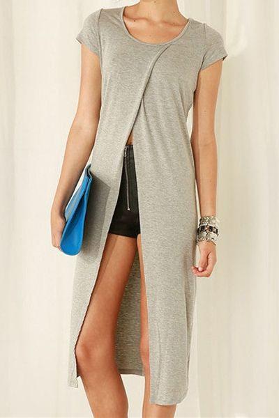 Color sólido de alta hendidura de manga corta blusa