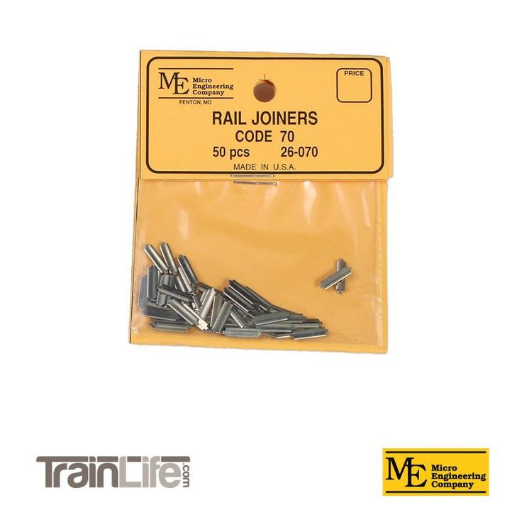 HO Scale: Nickel Silver Rail Joiner : Code 70 (qty 50)