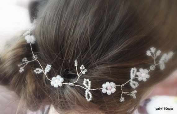Wedding Hair Vine- Pearls Silver Tiara beads headband crown flower bridal prom 10 inches.