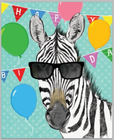 Открытка с днем рождения зебра, поздравления открытка