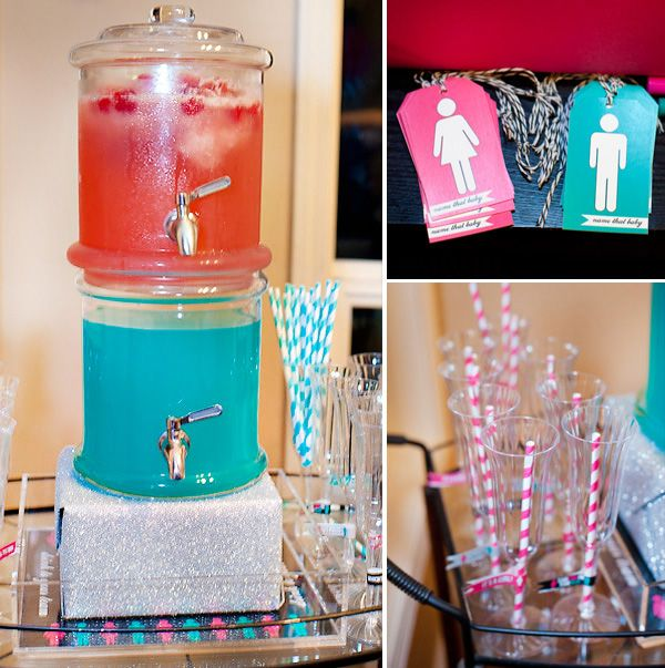Baby gender reveal party ideas - team blue and team pink. I love everything about this party.