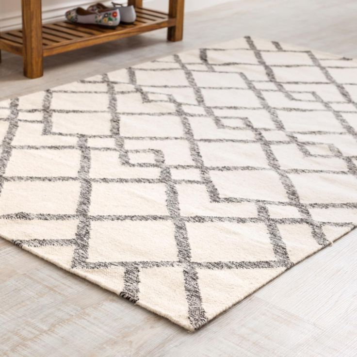 Tangier Kilim Rug is a unique two-tone charcoal and cream design handcrafted in India. This flat weave rug is durable yet yielding & would handle with a reasonable level of foot-traffic in your home.