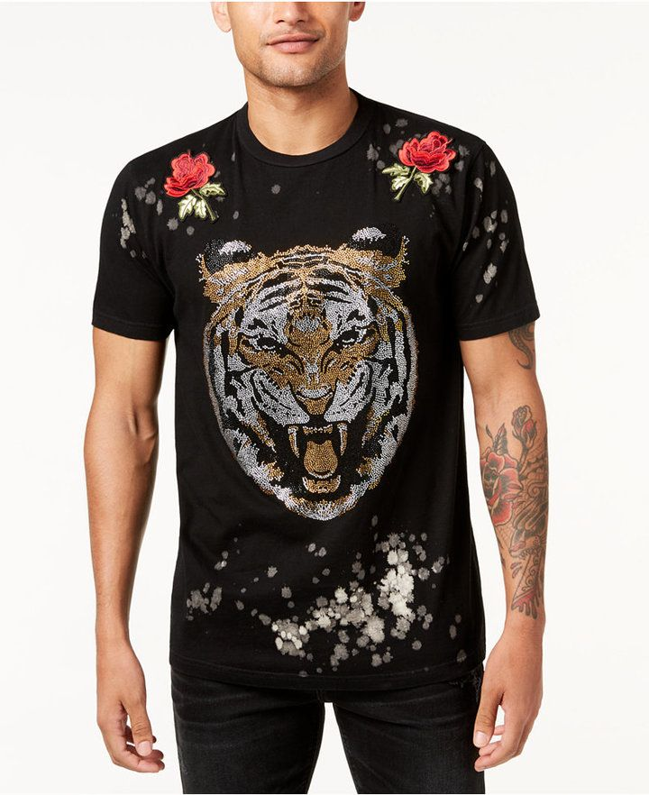 Reason Men's Primal Rose-Applique Rhinestone-Tiger T-Shirt