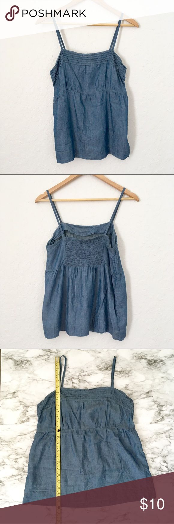 LOFT chambray spaghetti strap tank top Chambray tank top, very light and airy, super cute paired with white jeans. Straps are fixed length. LOFT Tops Tank Tops