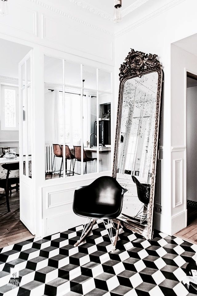 love the floor and the glamorous feel to this. Also, the wall and door. This is a thought for the dividing wall.