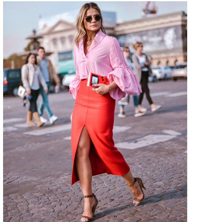 pink and red color pop street style