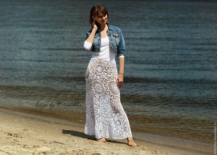 Купить Белая макси юбка из хлопка - белый, бохо юбка, юбка в пол