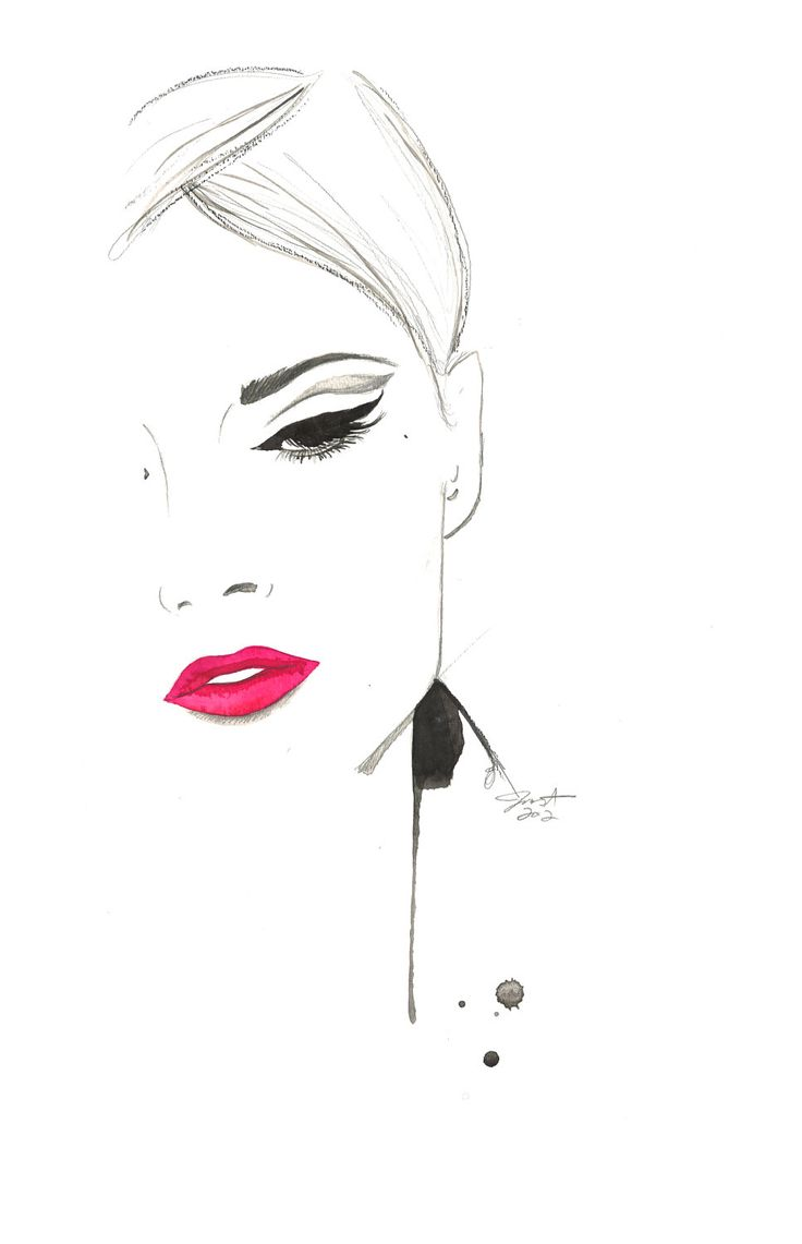 Print from original watercolor and pen fashion illustration by Jessica Durrant titled, The Cat's Eye. $26.00, via Etsy.