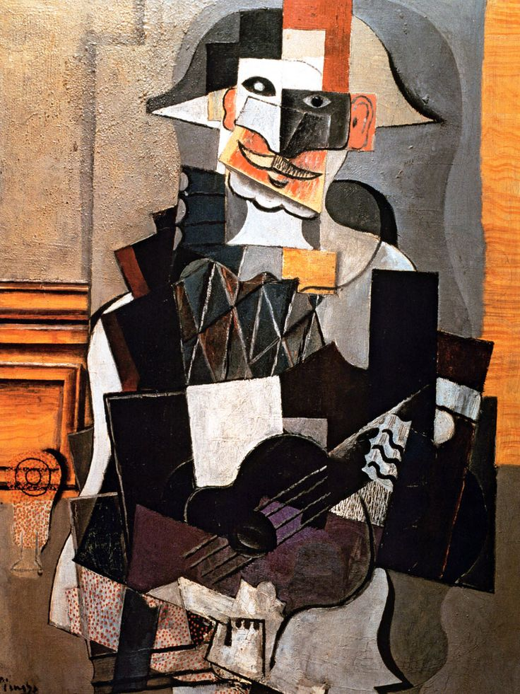 Harlequin Playing The Guitar. Pablo Picasso.