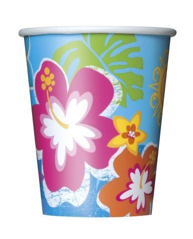 8 Vasos cartón Hula Fiesta en la playa 250 ml