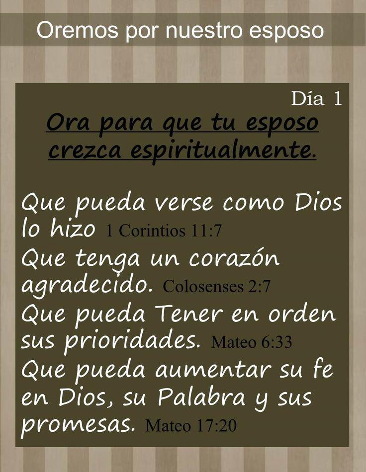 Serie de 5 días de oración por nuestro esposo. http://hechoencasabyoli.blogspot.com/2014/06/5-dias-de-oracion-por-nuestro-esposo.html