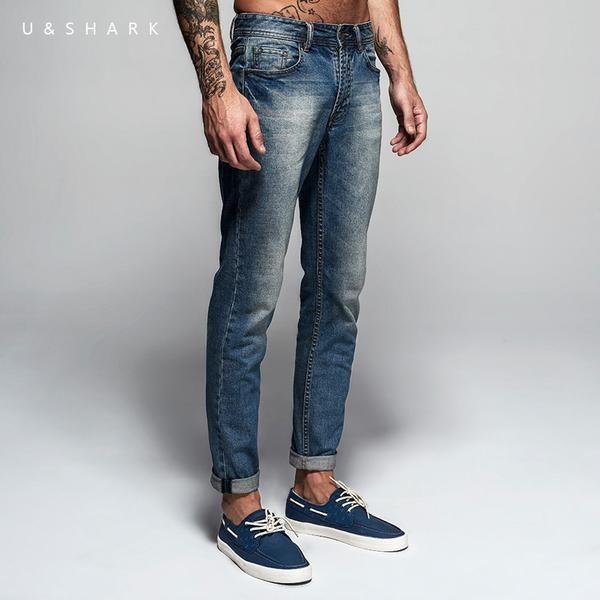 Italian Style Full Length Solid Men's Brand Designer Slim Fit Denim