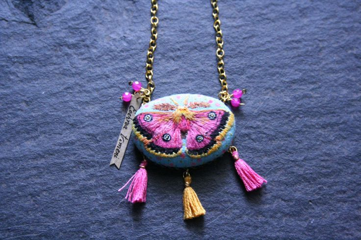 Moth Pendant Necklace - Eochroa trimenii - Bohemian Pendant Necklace - Pink Moth Pendant Necklace by BlackCatCreativeStd on Etsy https://www.etsy.com/listing/456800656/moth-pendant-necklace-eochroa-trimenii