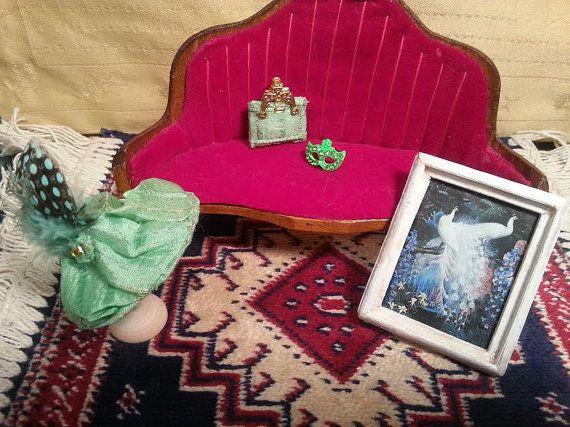 Hat  bag  silk  feathers  dolls house  1:12 by LaboratoriodiManu