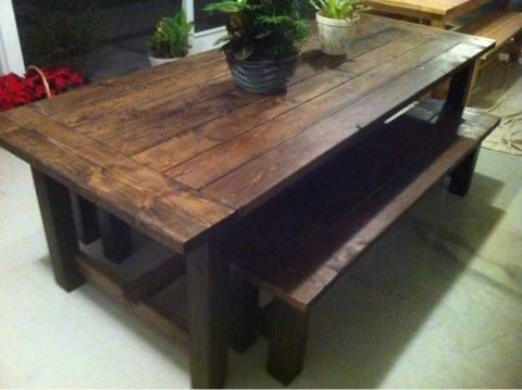 Barnwood style dining room or kitchen table pottery barn for Barn style kitchen table