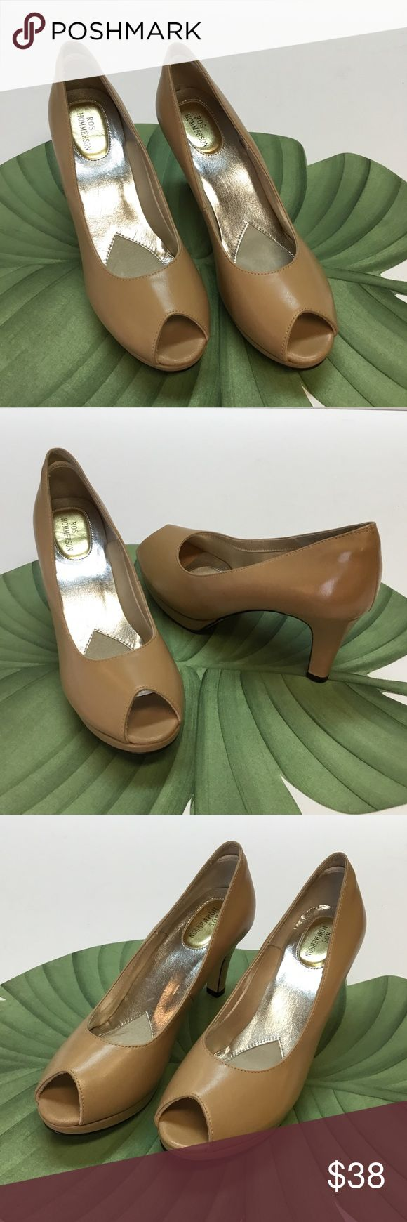 New Neutral Pumps.  Ros Hommerson I usually ship in 24 to 48 hours.  Great NEW Natural color, Leather Pumps that will accessorize all of your clothes.  Size 8.50 Slim.     Heel height is 3.00 inches.  Has nice padded footbed.  Excellent Condition. Ros Hommerson Shoes Heels