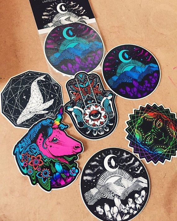 "Sticker Pack - 6 Vinyl Glossy Stickers - 4"" outdoor stickers - Waterproof Stickers - Trippy Sticker Pack"