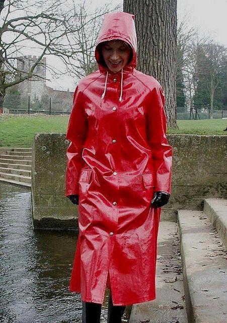 Red PVC Hooded Raincoat