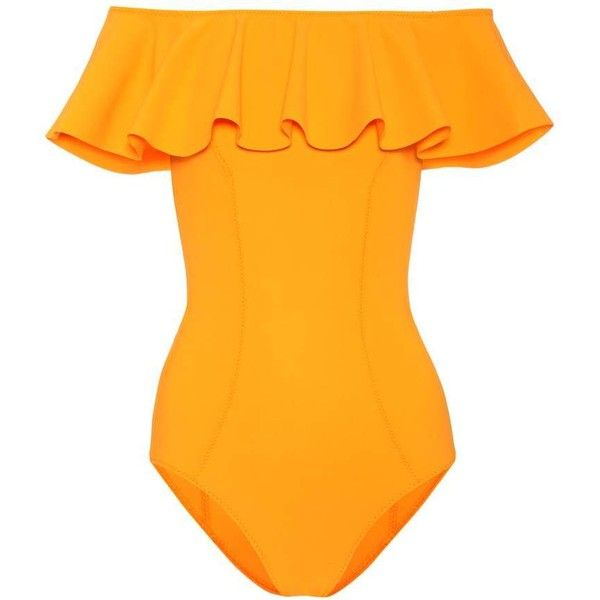 Lisa Marie Fernandez Mira Flounce Swimsuit ($545) ❤ liked on Polyvore featuring swimwear, one-piece swimsuits, orange, orange bathing suit, orange one piece swimsuit, ruffle swimsuit, flounce swimsuit and flounce bathing suits