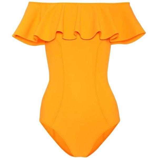 Lisa Marie Fernandez Mira Flounce Swimsuit (€480) ❤ liked on Polyvore featuring swimwear, one-piece swimsuits, orange, ruffle bathing suit, frilly swimsuit, swim suits, flounce bathing suits and swimming costume