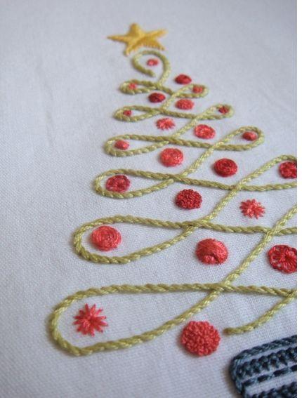 Arbol de navidad bordado